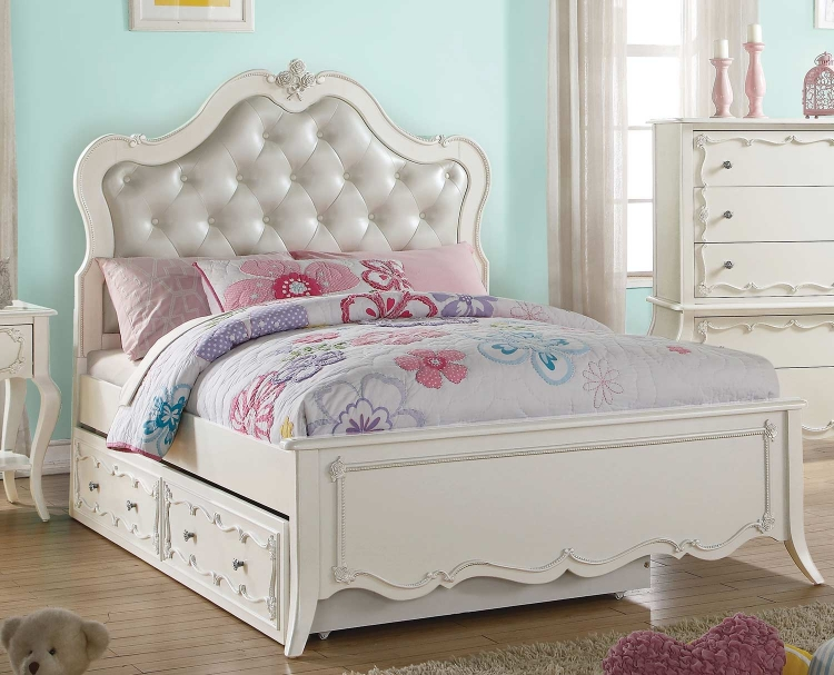 Edalene Bed - Pearl White