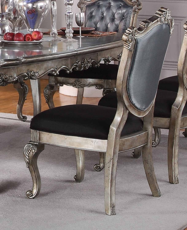 Chantelle Side Chair - Silver Gray Silk-Like Fabric/Antique Platinum