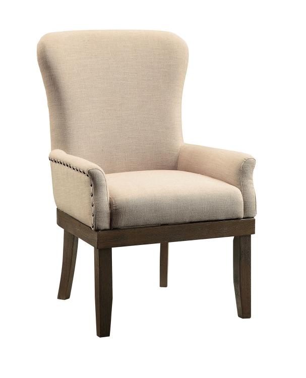 Landon Arm Chair - Beige Linen/Salvage Brown