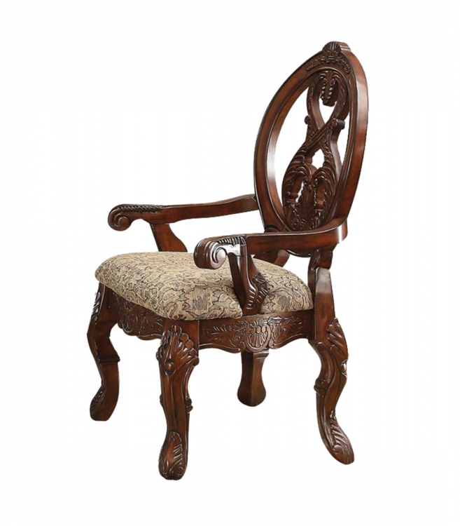Rovledo Arm Chair - Fabric/Cherry