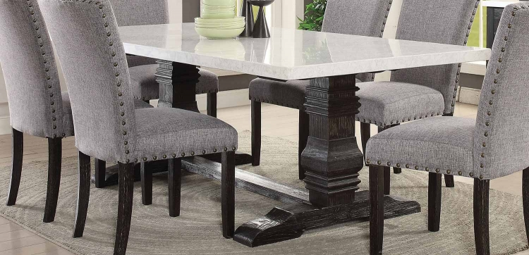 Nolan Dining Table with Double Pedestal - White Marble/Salvage Dark Oak