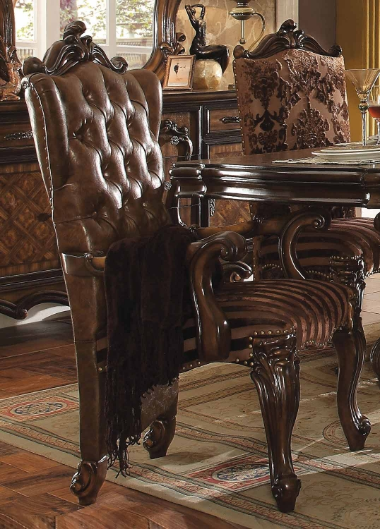 Versailles Arm Chair - 2-Tone Light Brown Vinyl/Cherry Oak