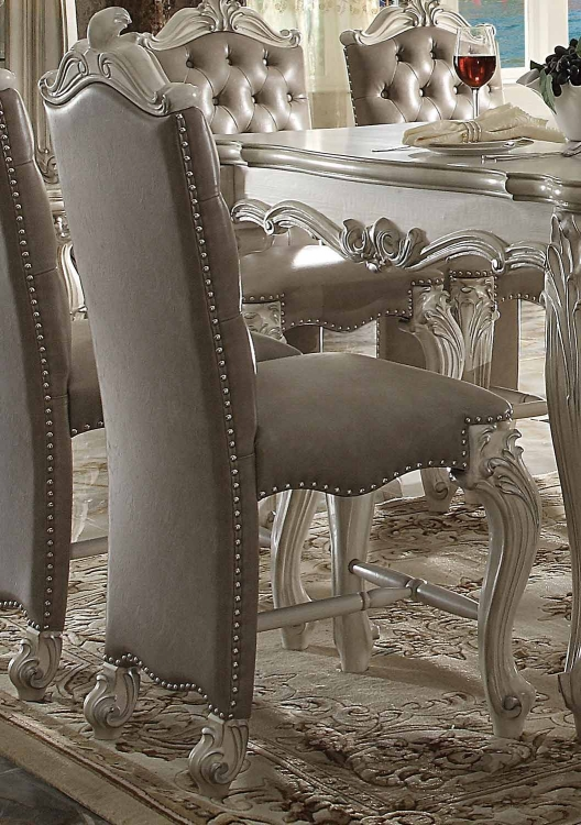 Versailles Counter Height Chair - Vintage Gray Vinyl/Bone White