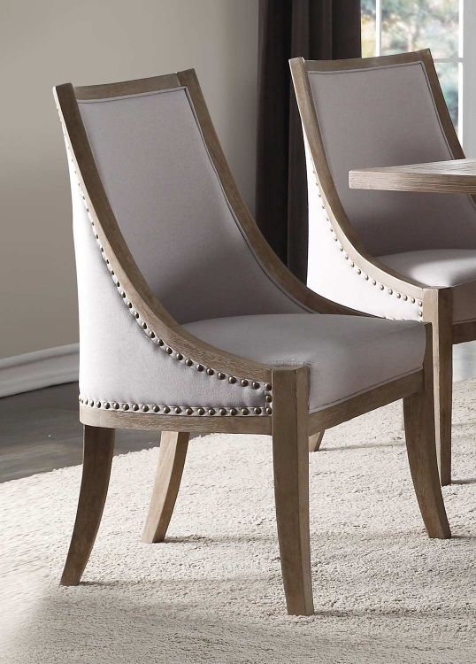 Eleonore Dining Chair - Taupe Linen/Weathered Oak