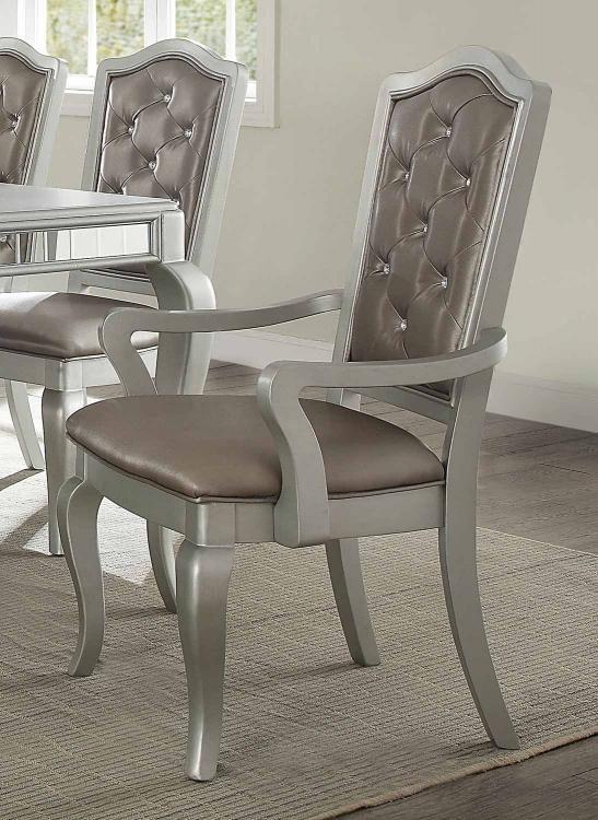 Francesca Arm Chair - Silver Vinyl/Champagne
