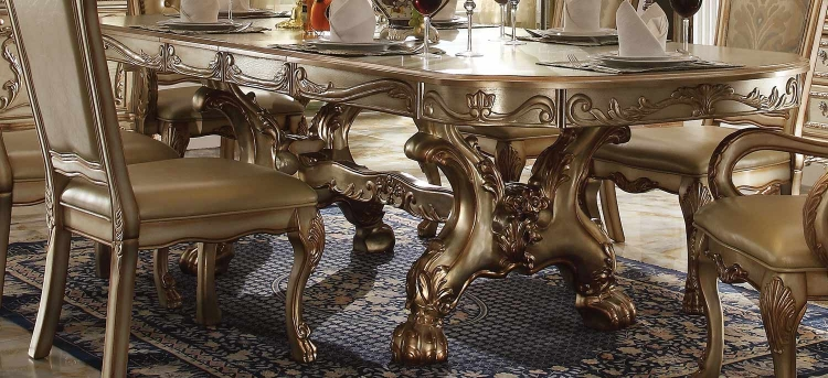 Dresden Dining Table with Trestle Pedestal - Gold Patina/Bone