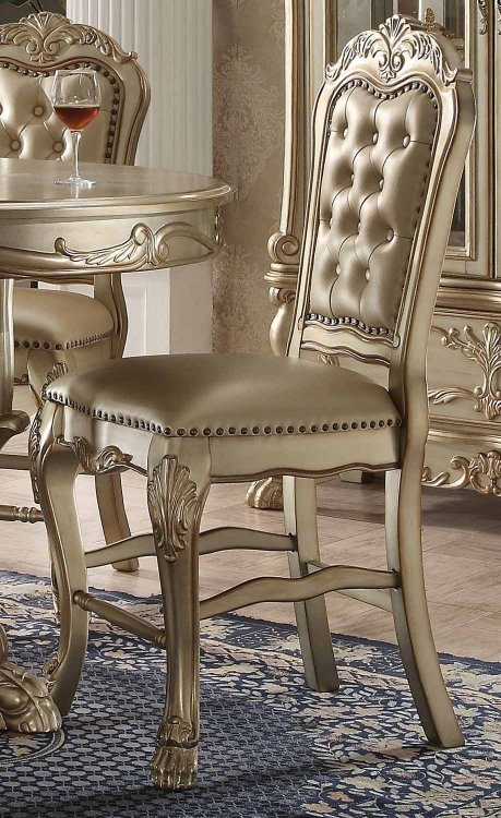 Dresden Counter Height Chair - Bone Vinyl/Gold Patina
