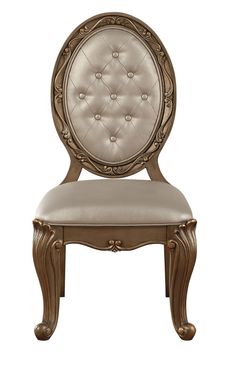 Orianne Side Chair (Oval) - Champagne Vinyl/Antique Gold