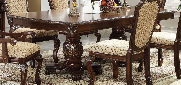 Chateau De Ville Dining Table with Double Pedestal - Espresso