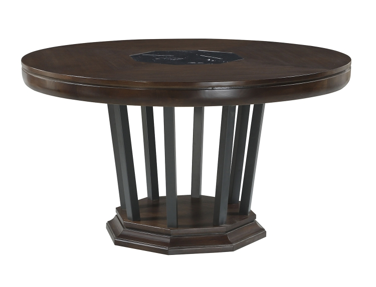 Selma Round Dining Table with Single Pedestal - Tobacco