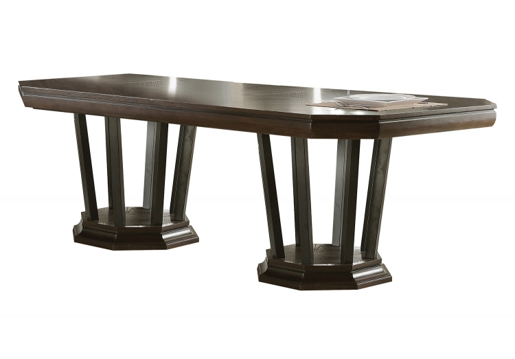 Selma Dining Table with Double Pedestal - Tobacco
