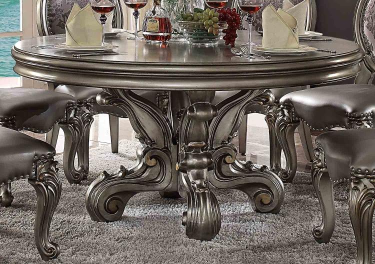 Versailles Dining Table (Round Pedestal) - Antique Platinum