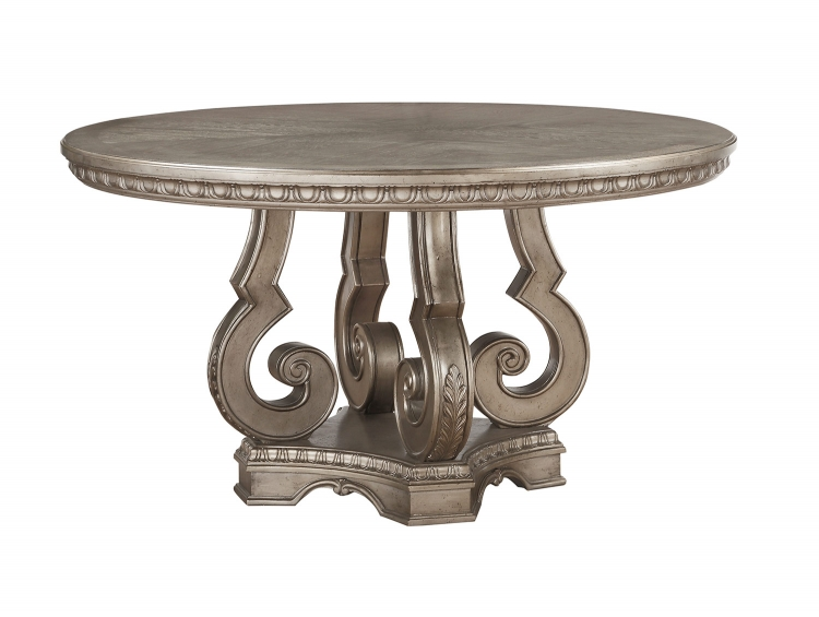 Northville Round Dining Table with Single Pedestal - Antique Champagne