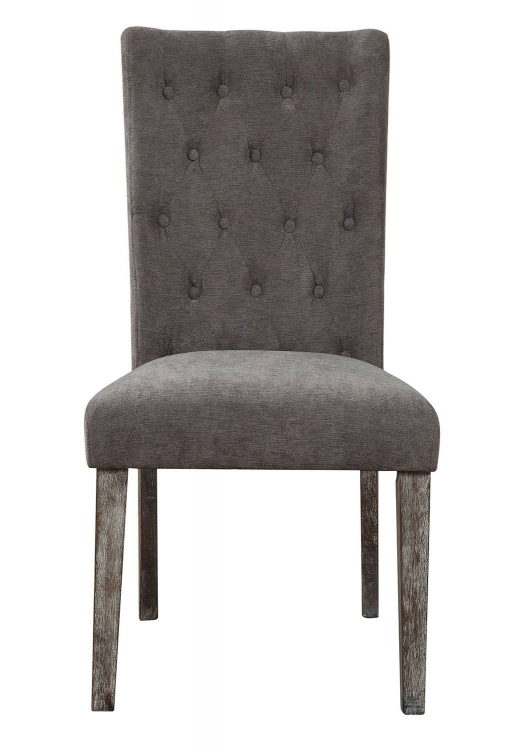 Carmelina Side Chair - Gray Velvet/Weathered Gray Oak