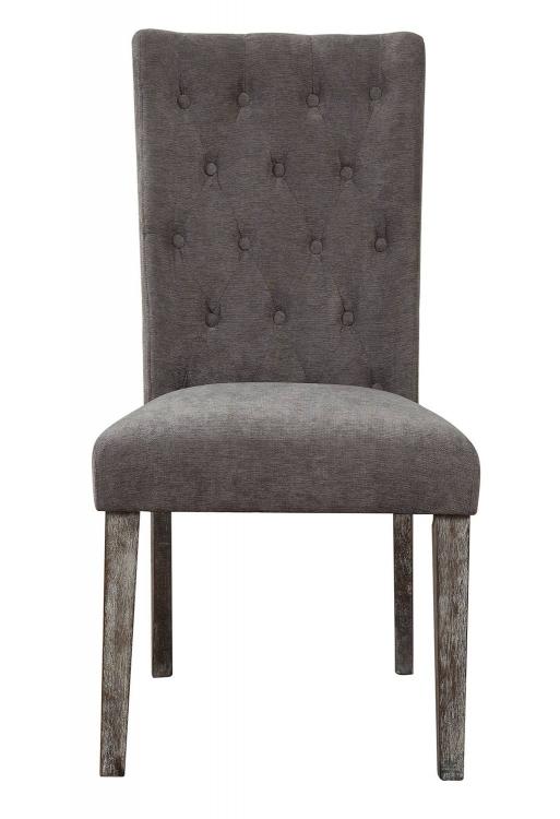 Carmelina Side Chair - Gray Velvet/Weathered Gray Oak