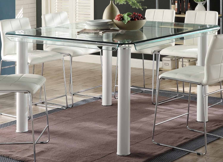 Gordie Counter Height Table - White/Clear Glass