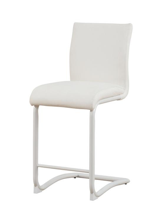 Gordie C Metal Shape Counter Height Chair - White Vinyl