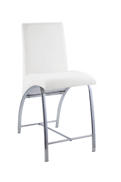 Gordie Curved Metal Shape Counter Height Chair - White Vinyl/Chrome