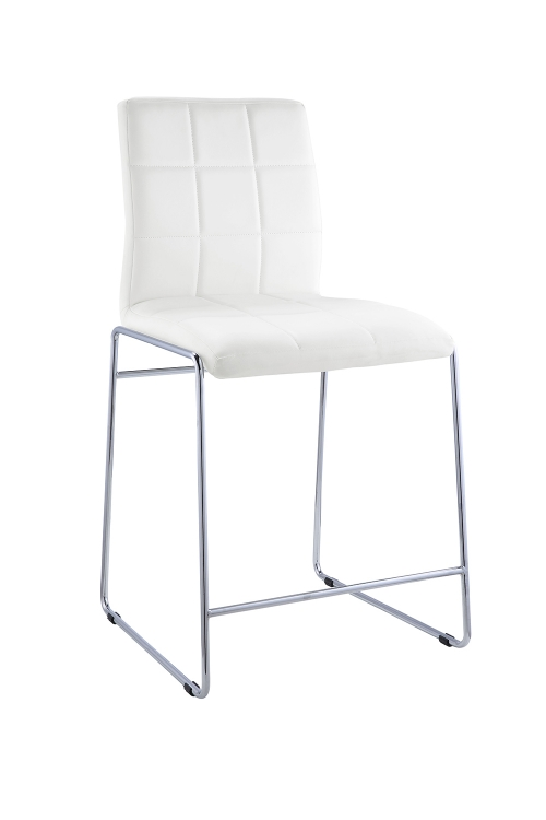 Gordie Sled Metal Shape Counter Height Chair - White Vinyl/Chrome