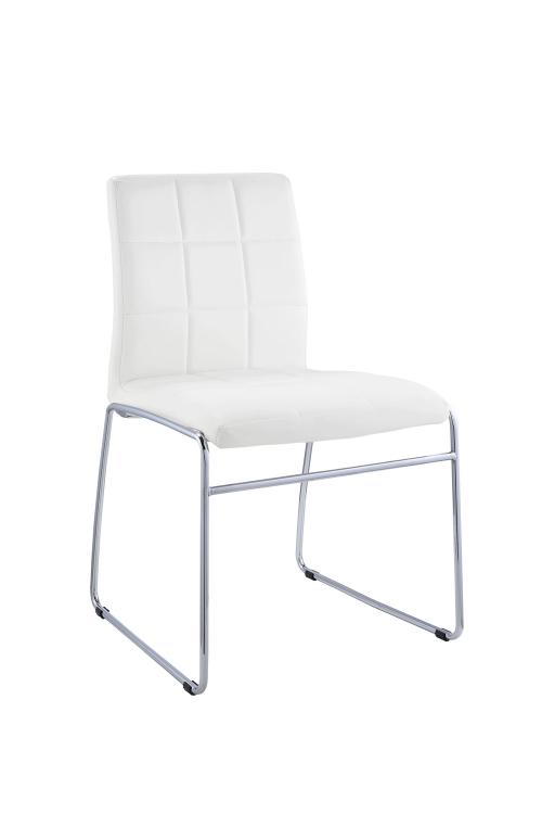 Gordie Sled Metal Shape Side Chair - White Vinyl/Chrome