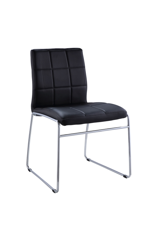 Gordie Sled Metal Shape Side Chair - Black Vinyl/Chrome