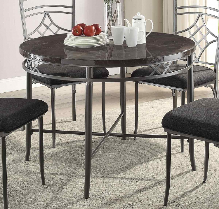 Burnett Dining Table - Faux Marble/Dark Gray
