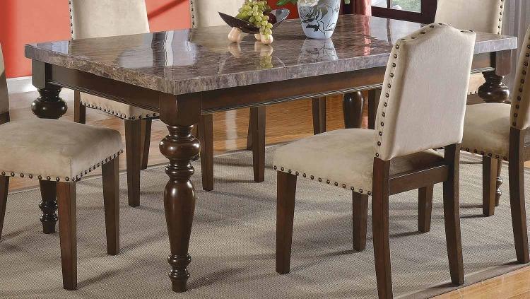 Bandele Dining Table - Emparedora Gray Marble/Walnut