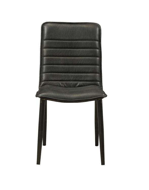 Hosmer Side Chair - Black Top Grain Leather/Antique Black