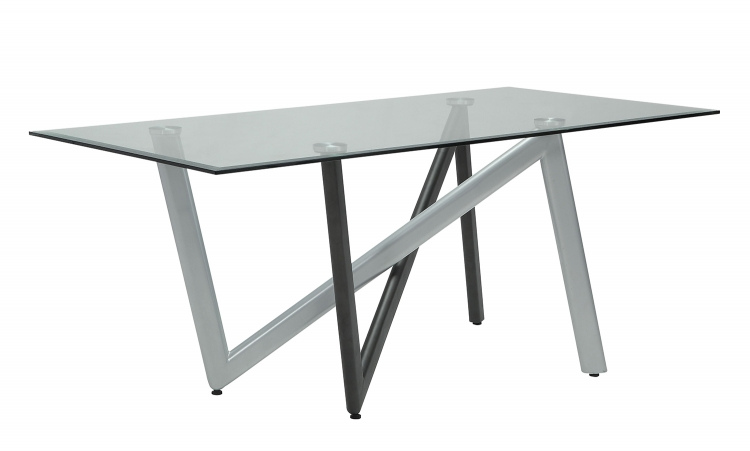 Hassel Dining Table - Silver/Gunmetal/Clear Glass