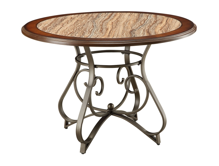 Barrie Round Dining Table - Faux Marble/Cherry Oak/Dark Bronze