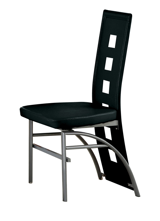Kathie Side Chair - Black Vinyl/Silver