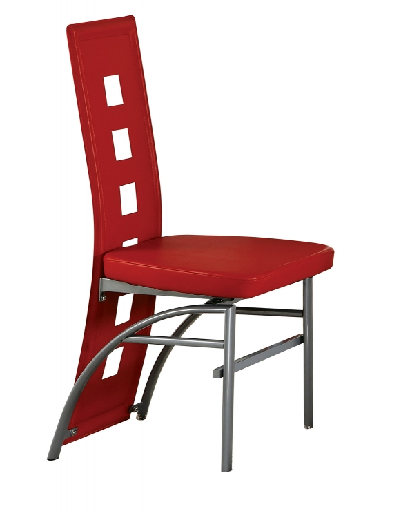 Kathie Side Chair - Red Vinyl/Silver