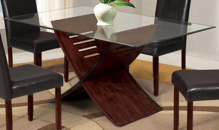 Trava Dining Table - Cherry/Clear Glass