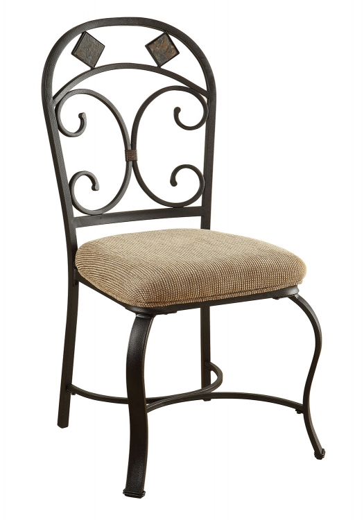 Kiele Side Chair - Fabric/Black Antique