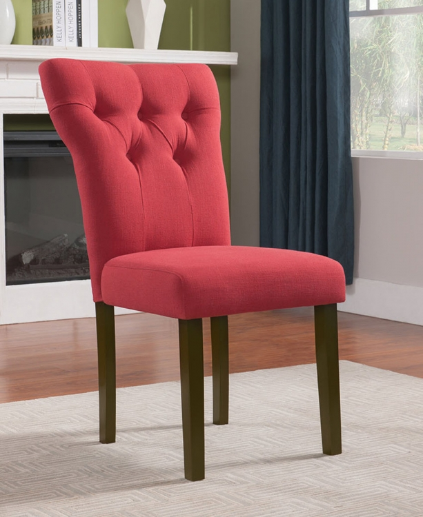 Effie Side Chair - Red Linen/Walnut