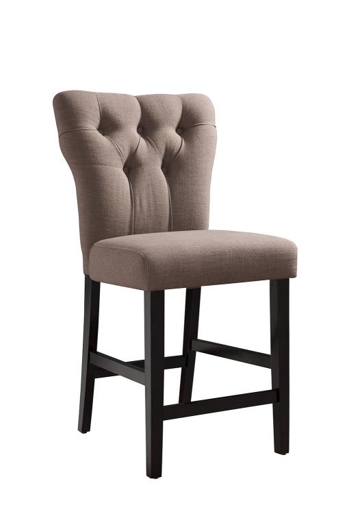 Effie Counter Height Chair - Light Brown Linen/Walnut