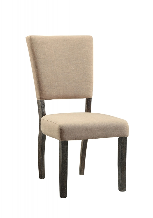 Eliana Side Chair - Beige Linen/Salvage Dark Oak