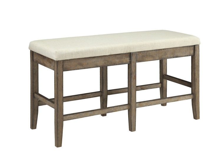 Claudia Counter Height Bench - Beige Linen/Salvage Brown