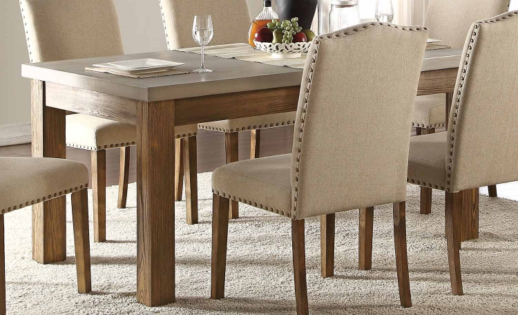 Parker Dining Table - Concrete Gray/Salvage Oak