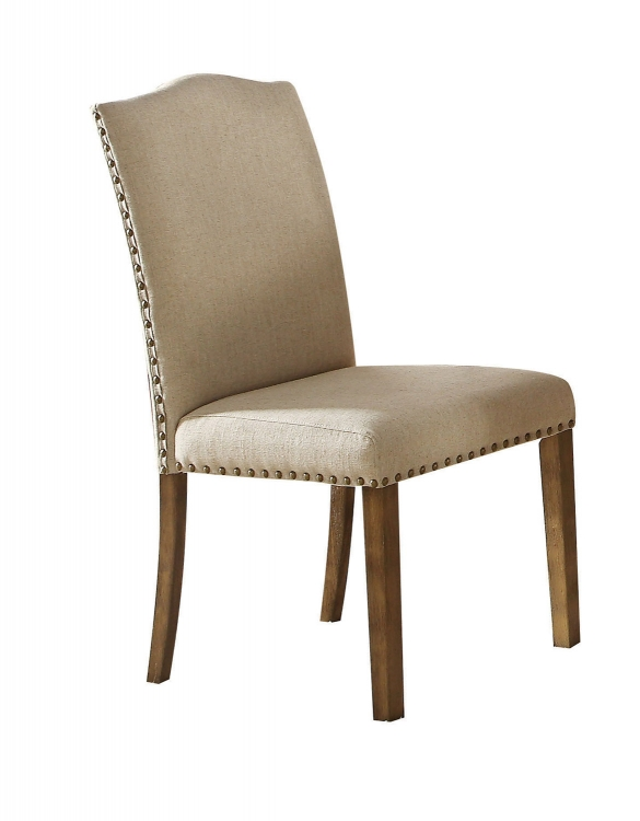 Parker Side Chair - Khaki Linen/Salvage Oak