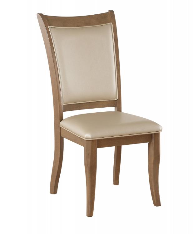 Harald Side Chair - Beige Vinyl/Gray Oak
