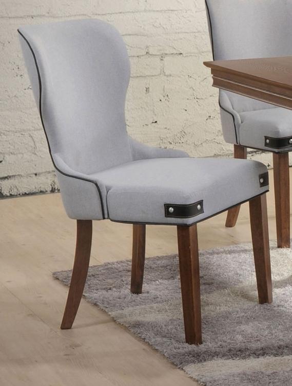 Wilfried Side Chair - Light Gray Fabric/Walnut