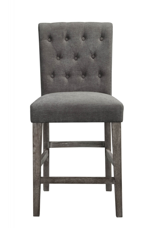 Carmelina Counter Height Chair - Gray Velvet/Weathered Gray Oak
