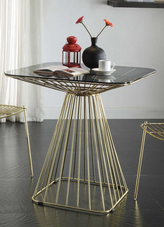 Rianne Dining Table - Gold/Smoky Glass