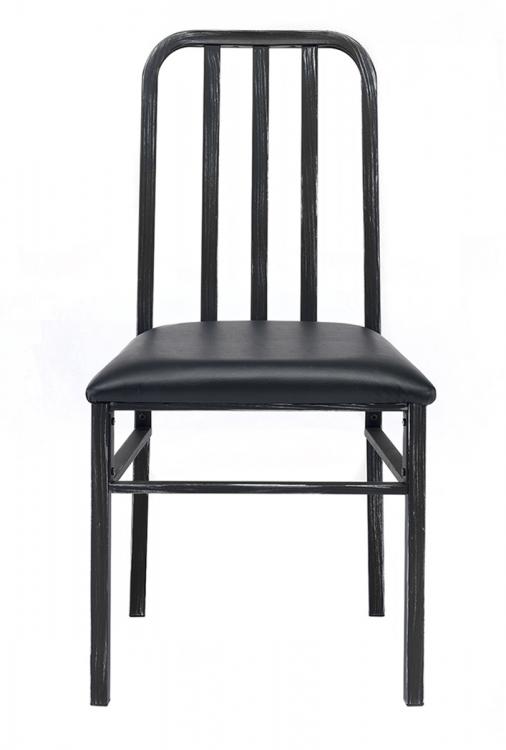 Jodie Side Chair - Black Vinyl/Antique Black