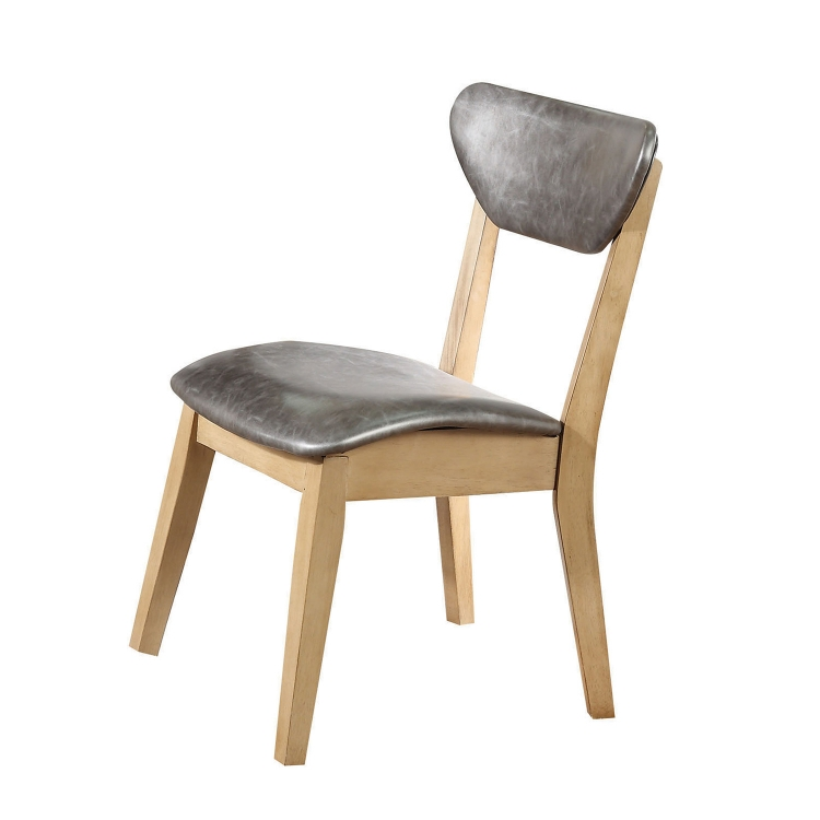Rosetta Side Chair - Silver Vinyl/White Washed