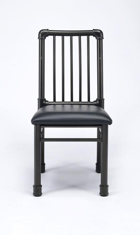 Caitlin Side Chair - Black Vinyl/Black