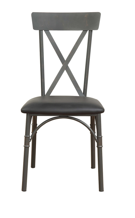 Itzel Side Chair - Black Vinyl/Sandy Gray