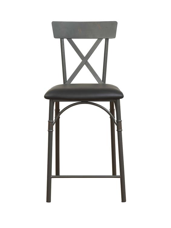Itzel Counter Height Chair - Black Vinyl/Sandy Gray