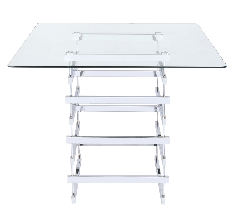 Nadie Counter Height Table - Chrome/Clear Glass